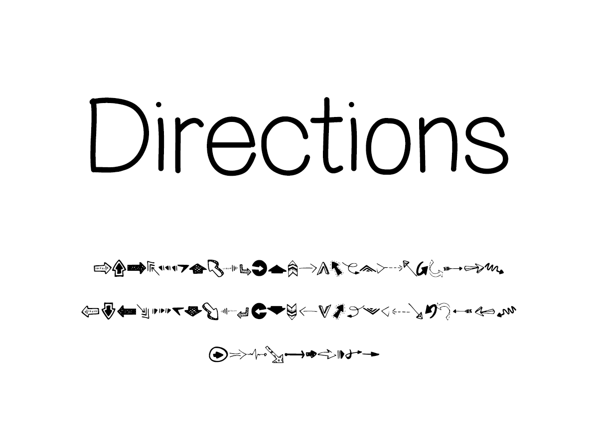 Mix Directions (Arrow Dingbats) - Handwritten Fonts by Mikko Sumulong