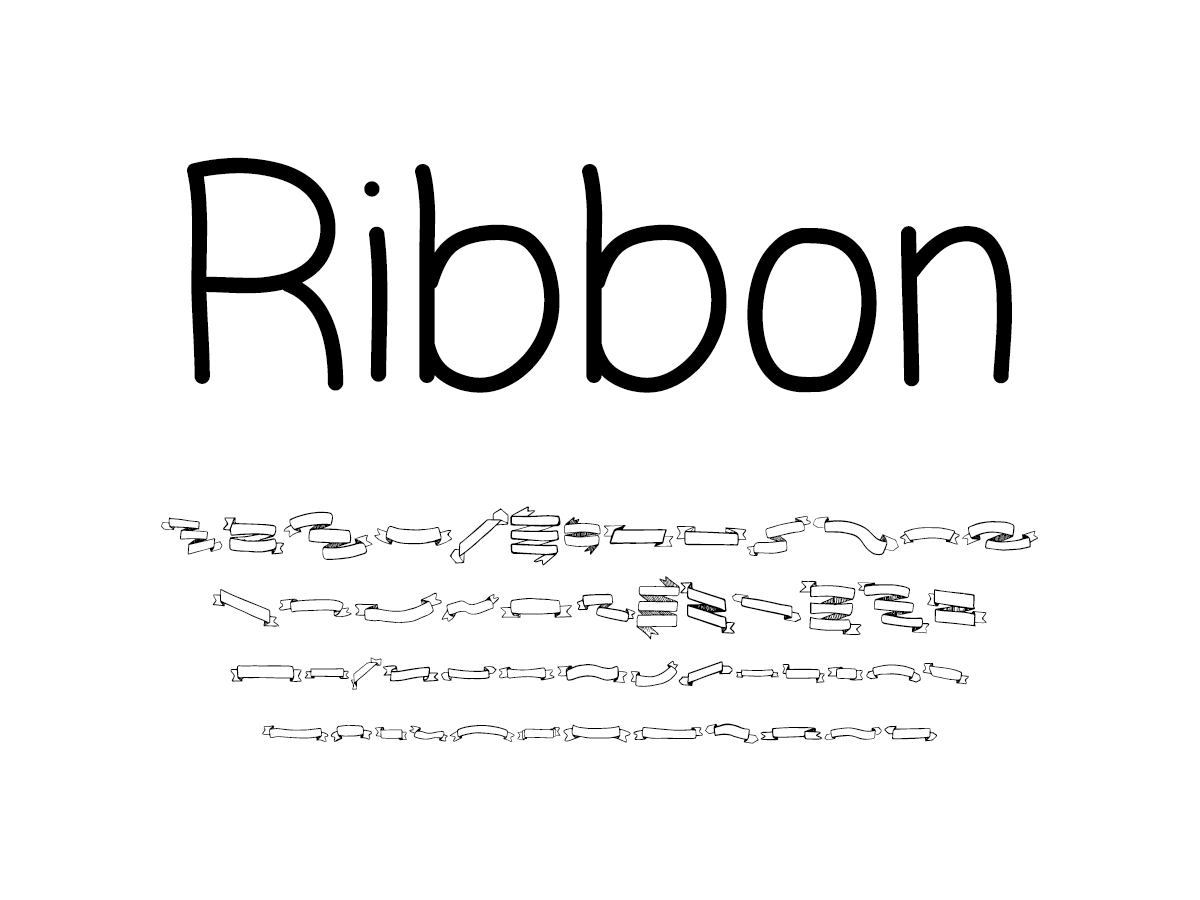 Mix Ribbon (Ribbon Banner Dingbats) - Handwritten Fonts by Mikko Sumulong
